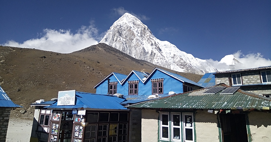 Popular trekking route in Nepal- Just before reaching Everest base camp.