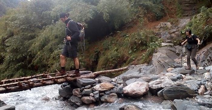 Great Himalaya trails- crossing Modi khola during ABC trek